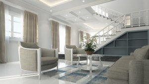 Interior of a designer home ready for sale with home staging