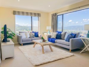 Home staged lounge with blue colour accents